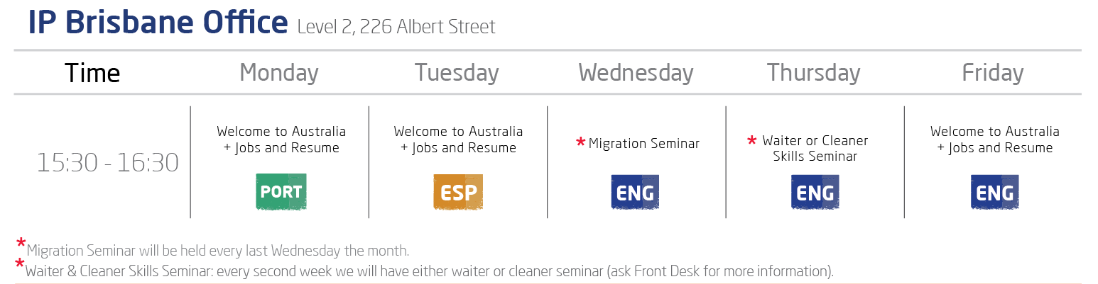 IP Brisbane Office Welcome and Job Seminars Timetable